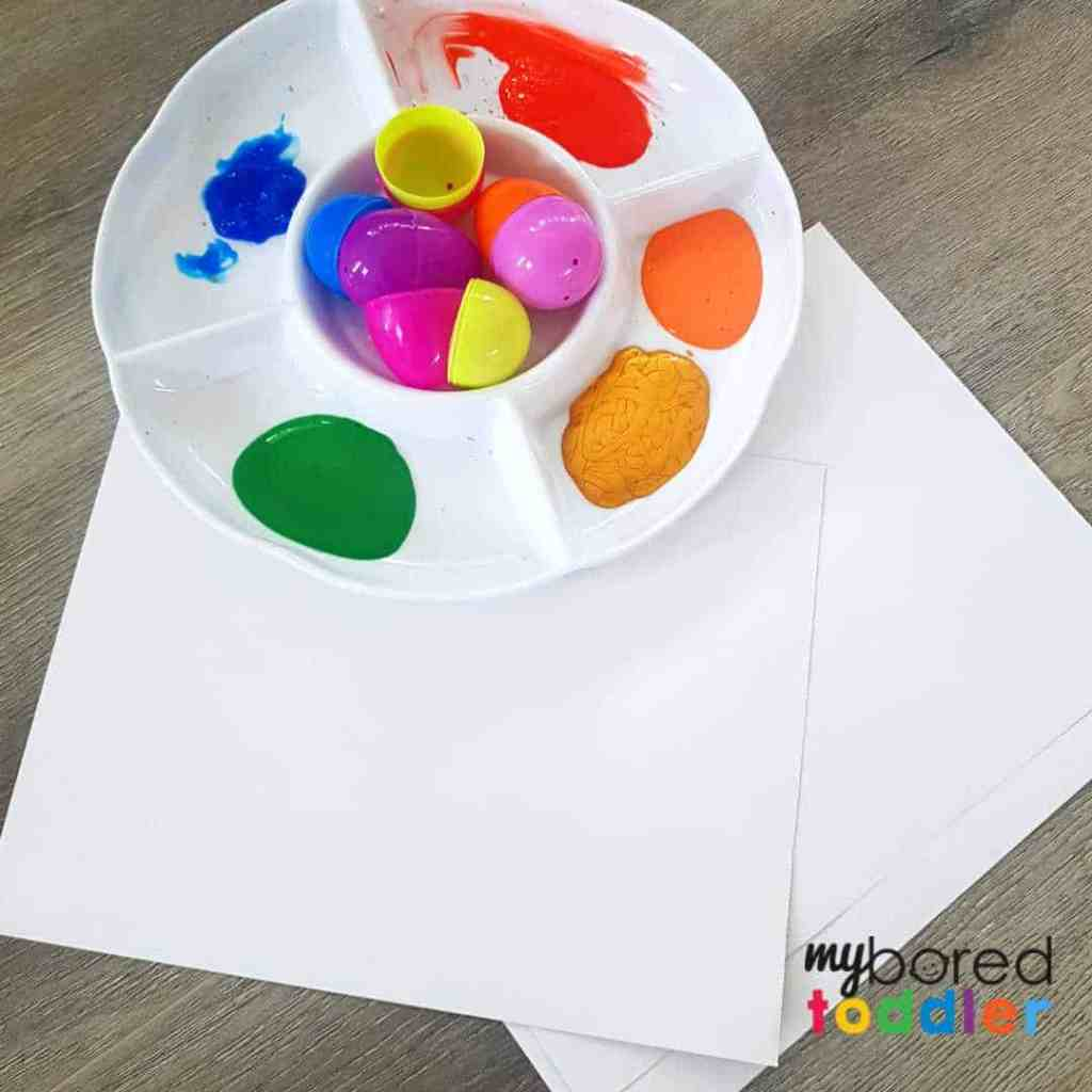 easter egg painting craft for toddlers set up