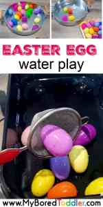 easter egg water play activity for toddlers and preschoolers