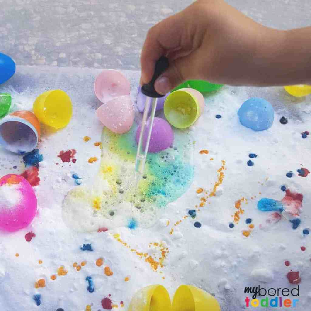 easter fizzing sensory bin for toddlers 4