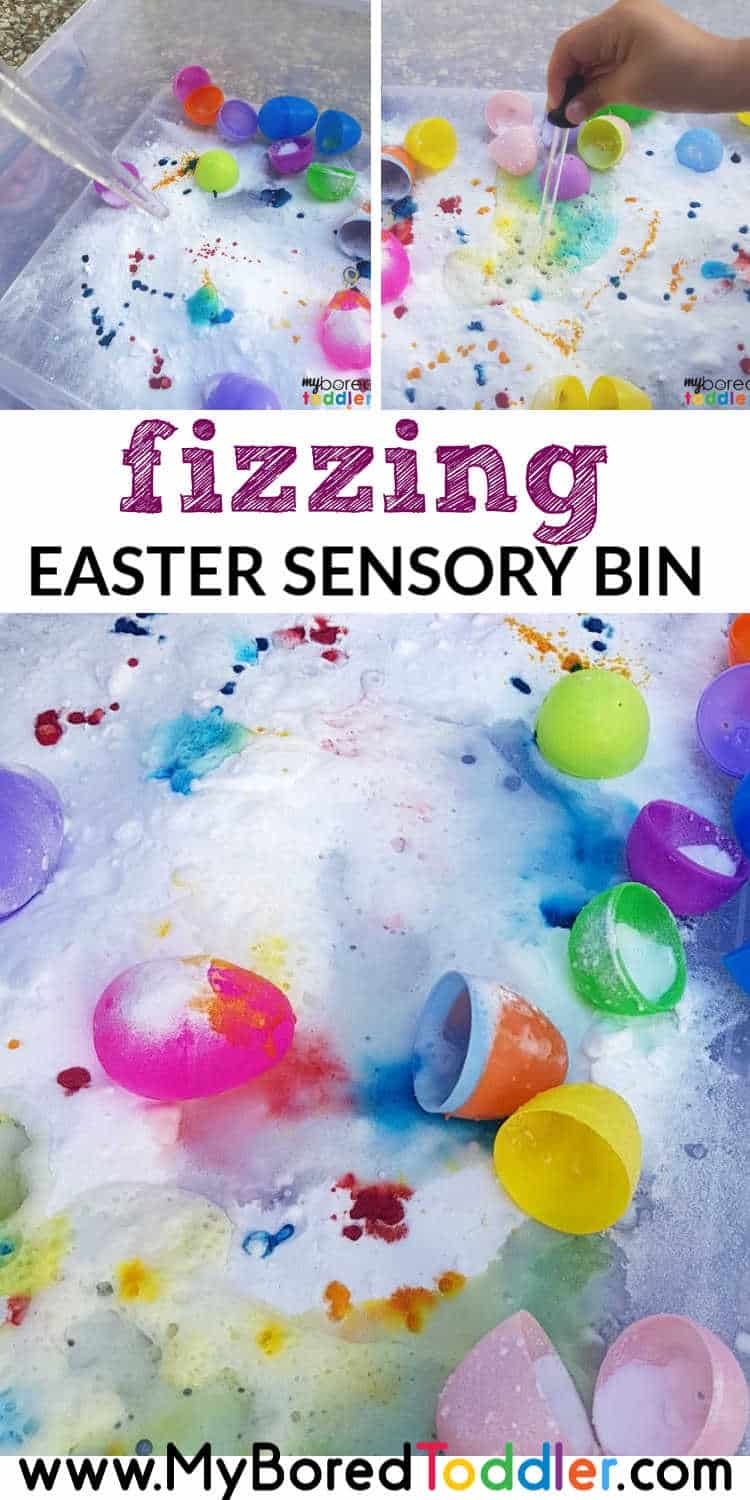 fizzing easter egg sensory bin for toddlers pinterest