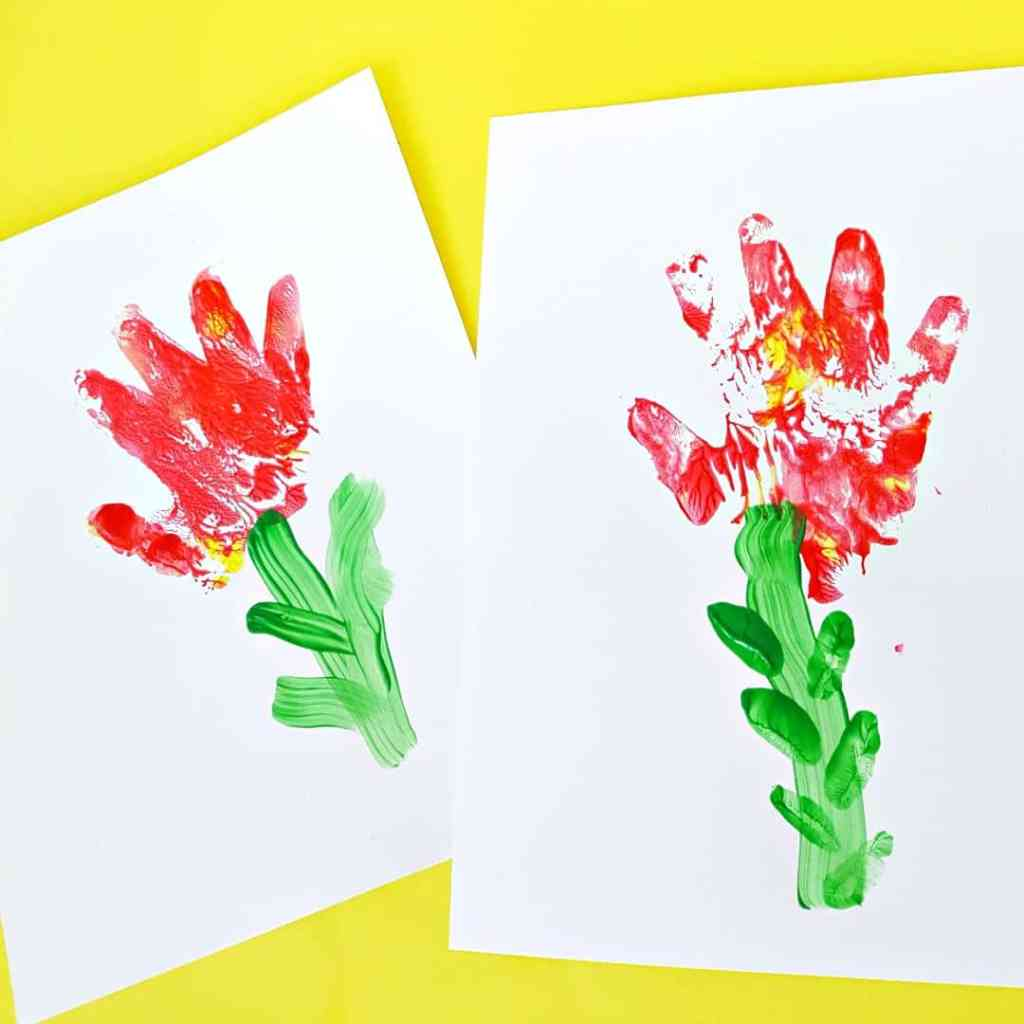 Hand print flower paintings for toddlers