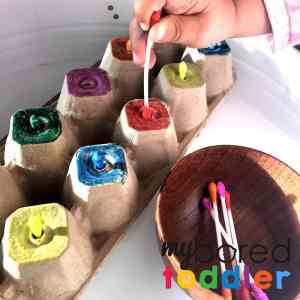 cotton tip colour push toddler fine motor activity