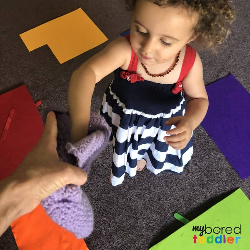 easy color sorting activity for toddlers to do at home
