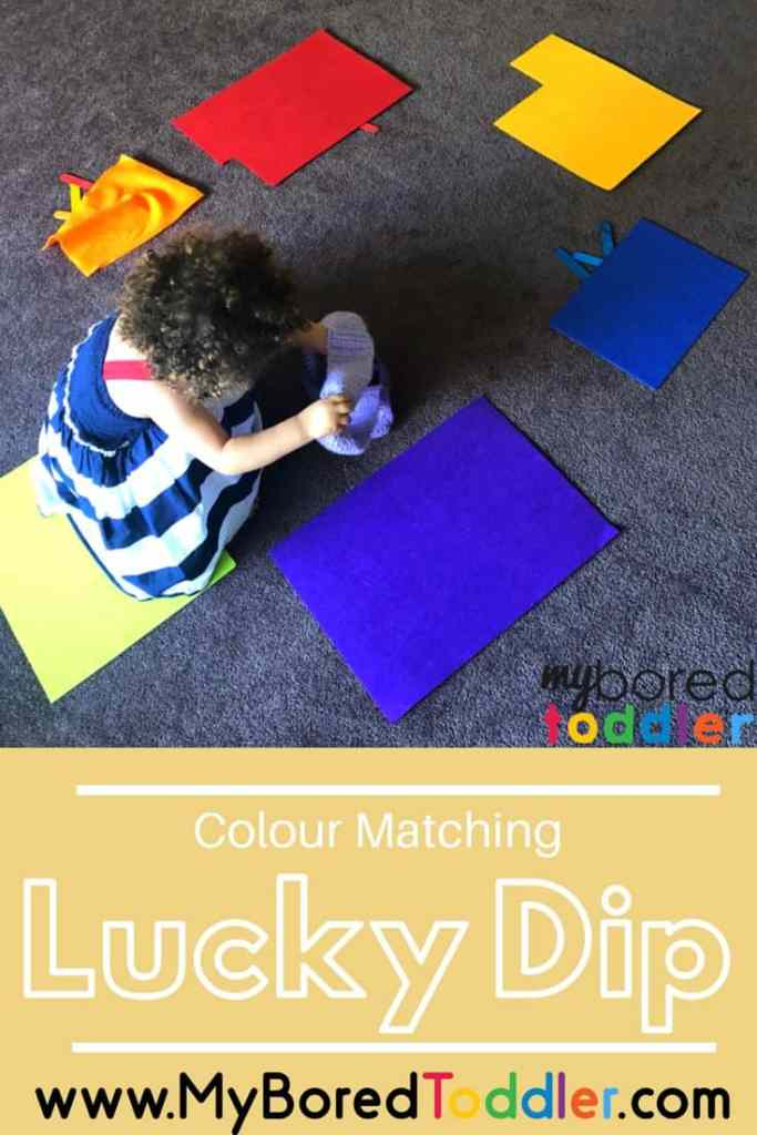colour matching lucky dip activity for toddlers to do at home