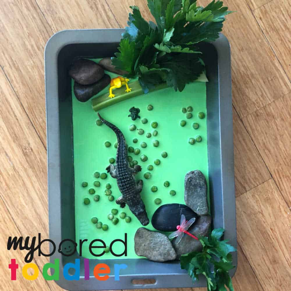 crocodile sensroy play oobleck messy play fun for toddlers