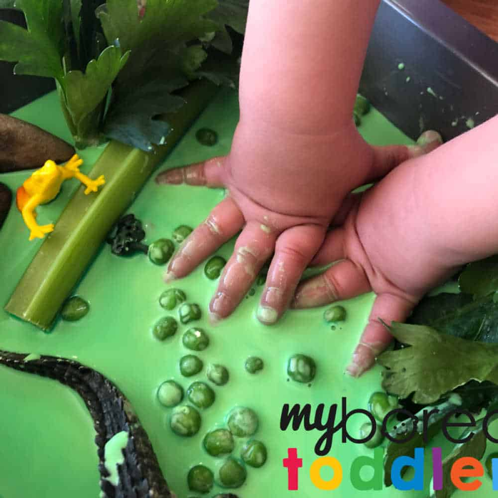 messy oobleck swamp sensory play for toddlers