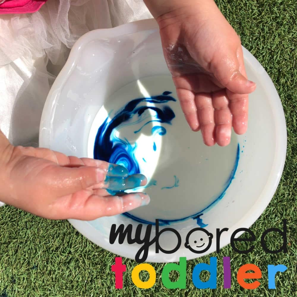 mixing colors with oobleck toddler activity idea