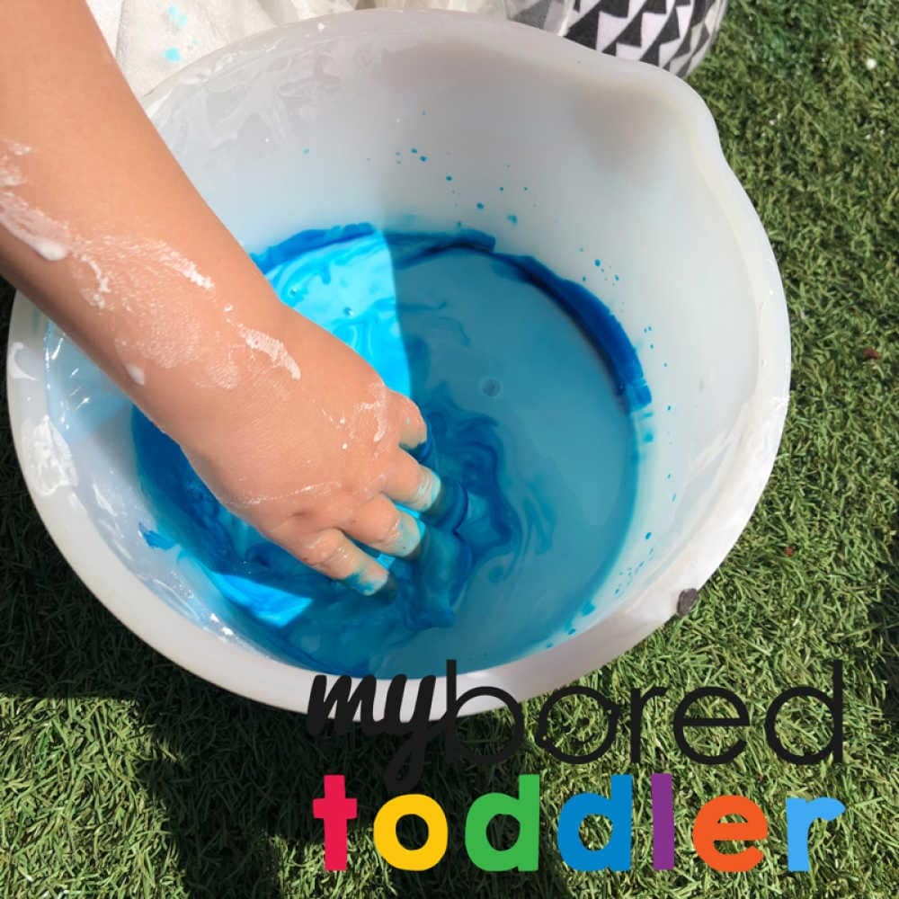 mixing oobleck messy play for toddlers color ideas