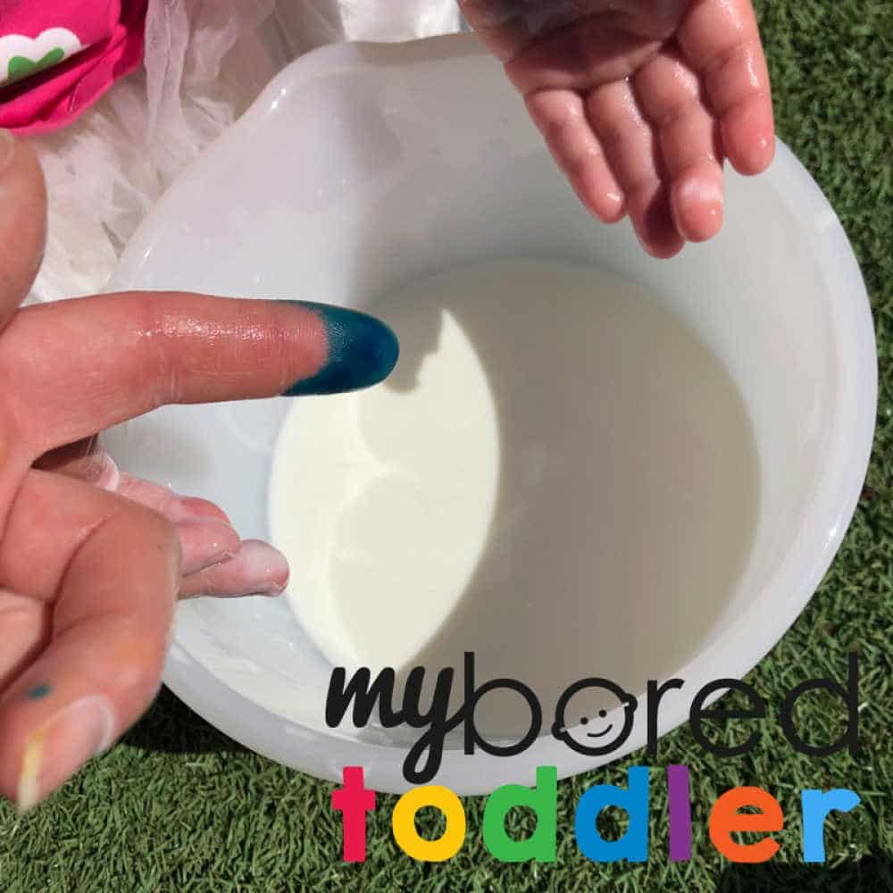 oobleck color mixing gradient fun sensory play for toddlers 4