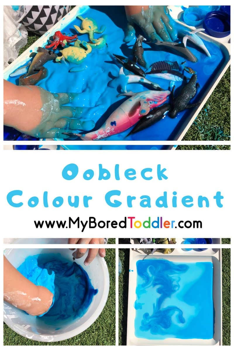 messy play with oobleck and colors