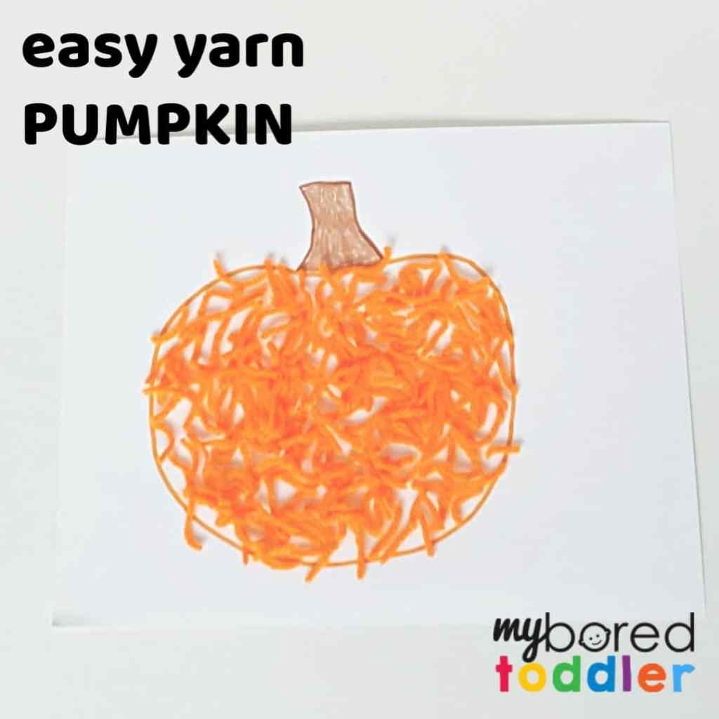 Easy Yarn Pumpkin Craft for Toddlers
