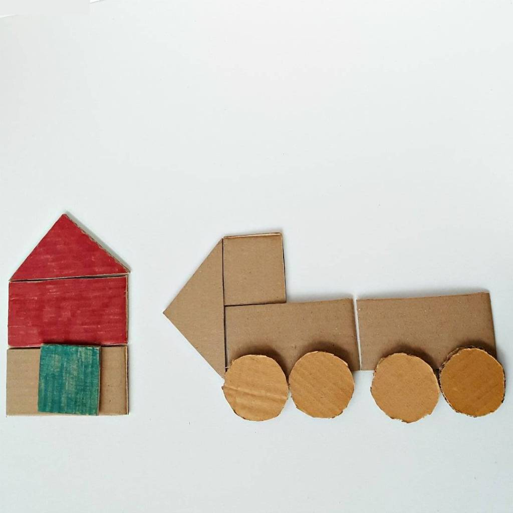 Cardboard Shapes – Easy Toddler Craft Activity