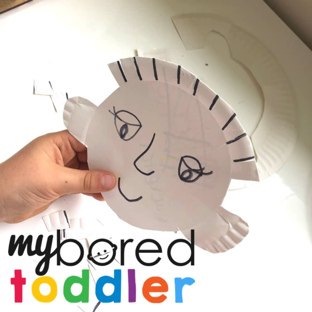 paper plate cutting activity for toddlers for fine motor and scissor skills
