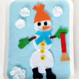 Felt snowman fine motor toddler activity for winter play