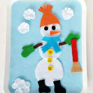 Felt snowman fine motor toddler activity for winter play