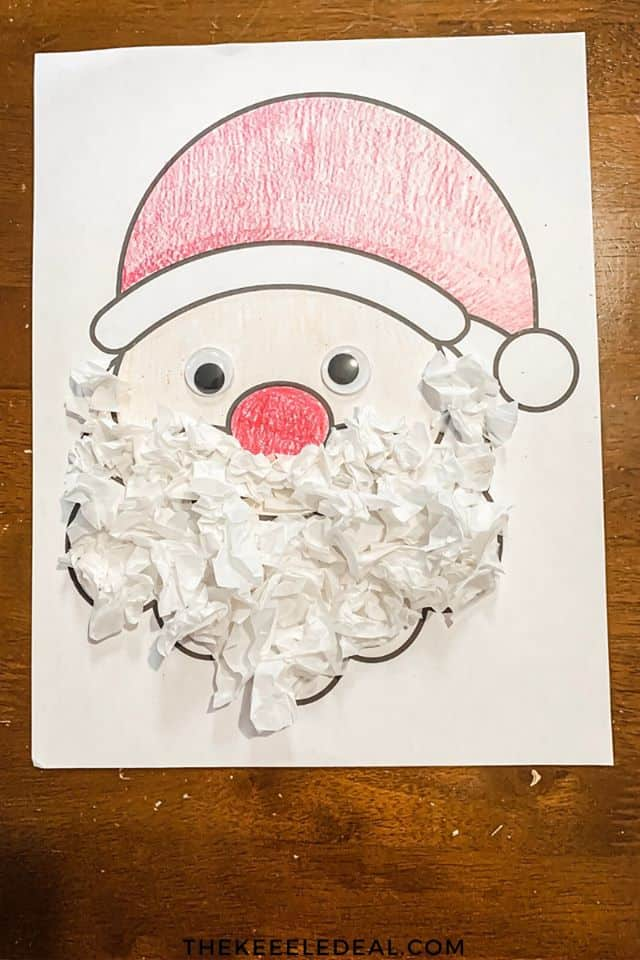 tissue paper santa for toddlers to make