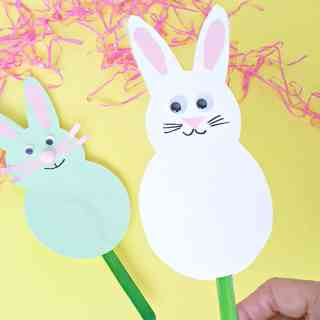 Bunny craft stick puppet for toddlers