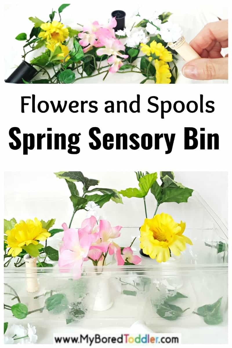 flowers spring sensory bin for toddlers and preschoolers