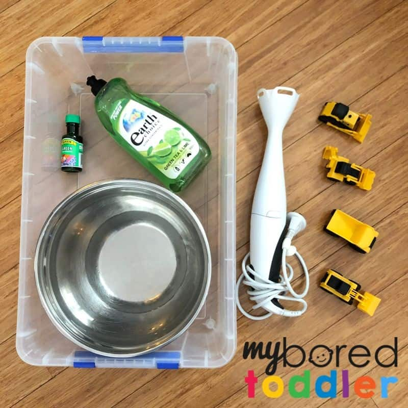 soap foam construction sensory bin what you need