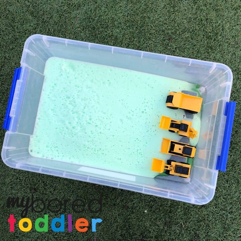 soap foam truck play sensory bin