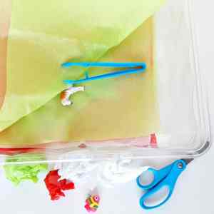 Tissue Paper Sensory Bin for Toddlers
