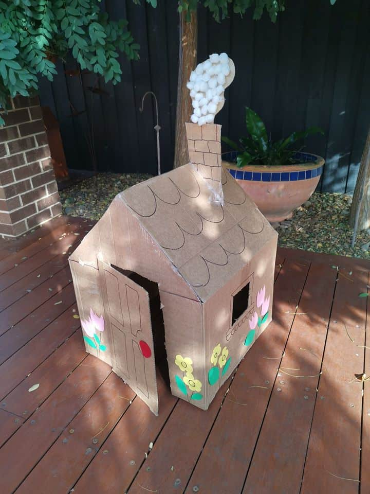 cardboard playhouse with chimney