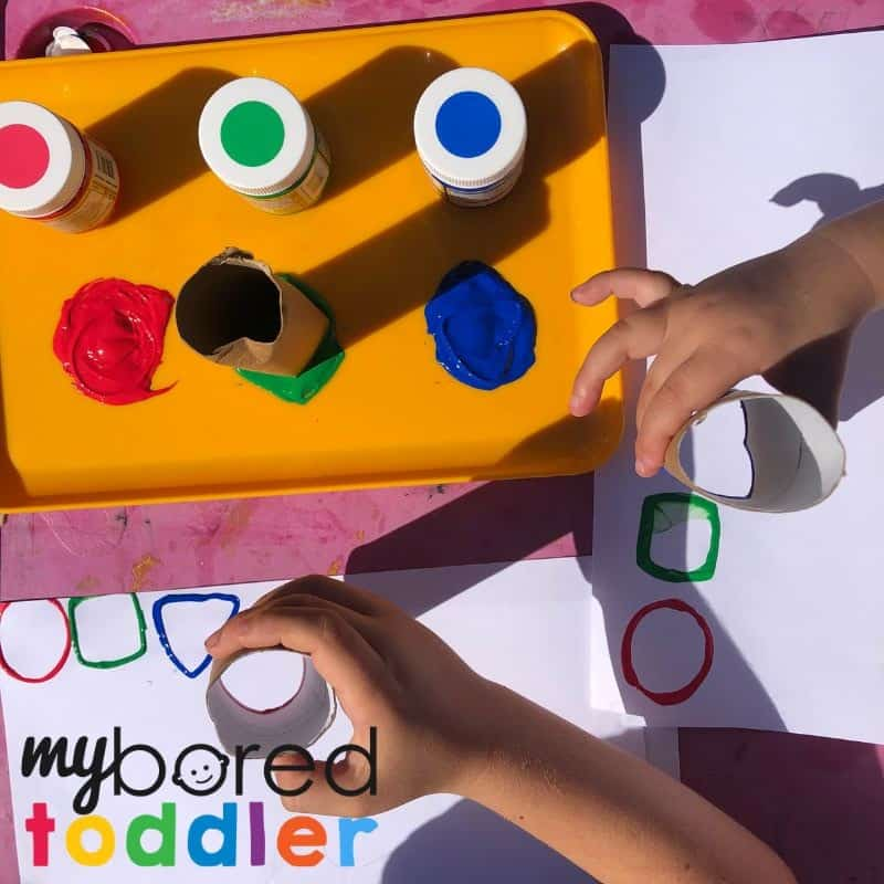 shape stamping with toilet rolls easy toddler activity idea