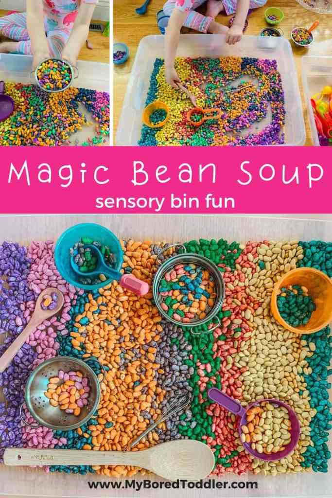 magic bean soup sensory bin for toddlers and preschoolers pinterest