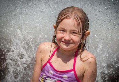 girl in fountain