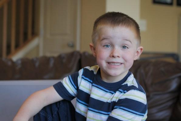 little boy smiling