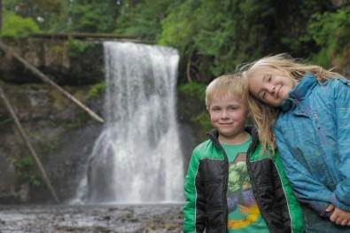 evan alaina posing in front of silver falls