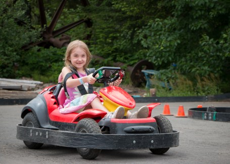 girl driving go-cart