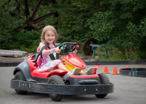 girl driving go-cart