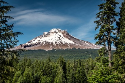 mount hood snow capped close up