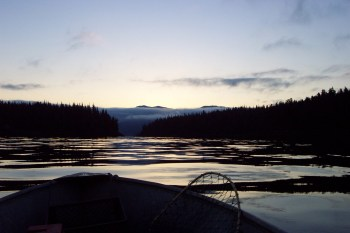 sunrise from skiff in Ketchikan