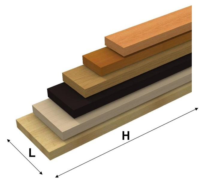 mensole in legno ad alto spessore su misura