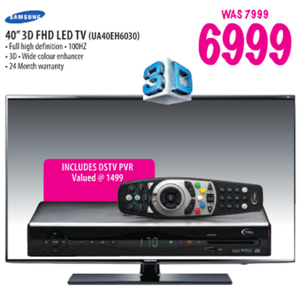Samsung 40inch 3D LED TV and PVR decoder Game