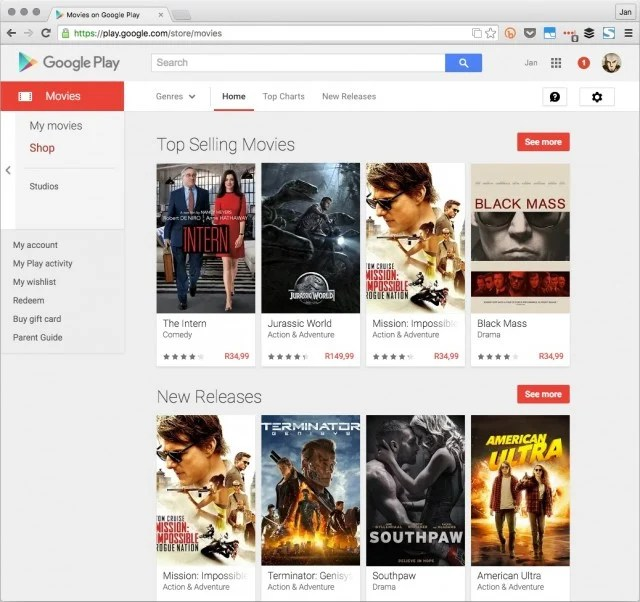 Google Movies in South Africa
