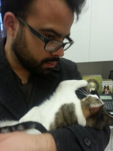 Mimi with daddy at the vet