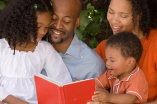 African American Family Reading Together