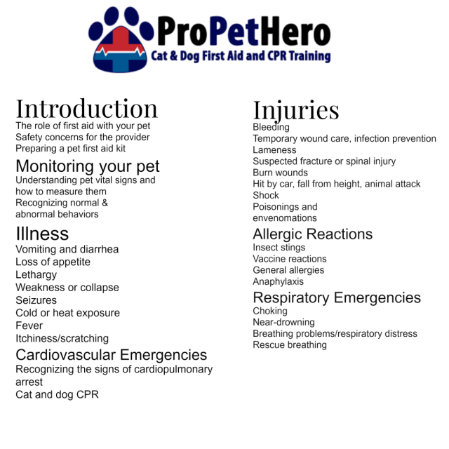 ProPetHero Dog & Cat First Aid and CPR training