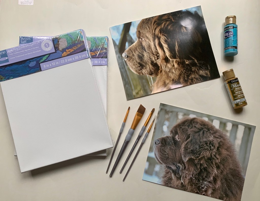 71a9f2e9fb57 Supplies that you will need for your Newfoundland Dog Silhouette Canvas Art