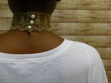 gold lace choker back view