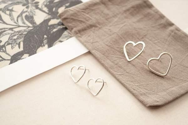 aros corazón frontal de plata 925