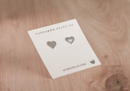 aros corazón de plata 925
