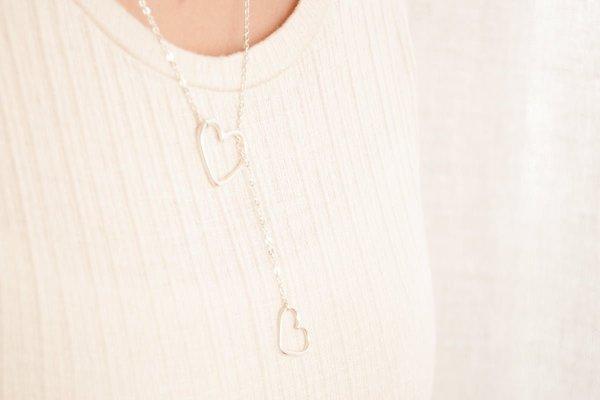 Collar lazo de corazones de plata 925