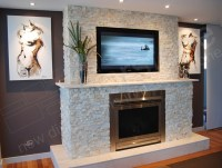 Feature wall for fire place using stone cladding ...