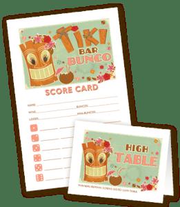 Tiki Bar Bunco Scorecard and Table Marker from MyBunco