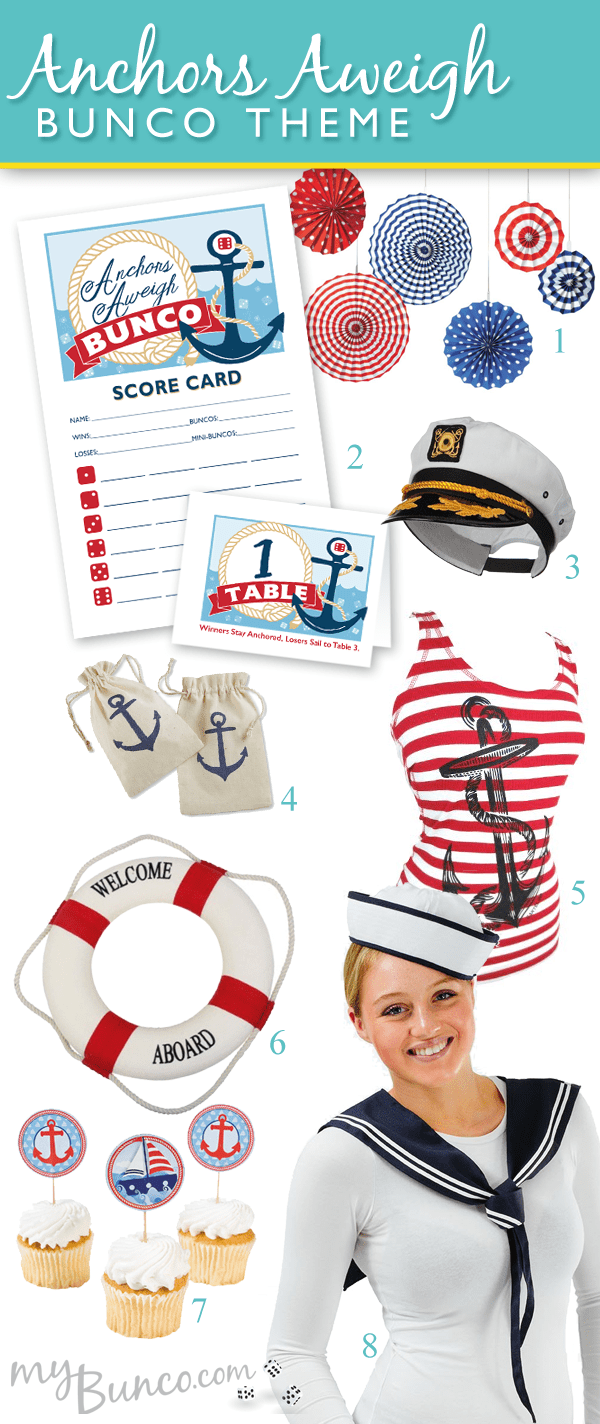 Anchors Aweigh Bunco Theme Party Inspiration