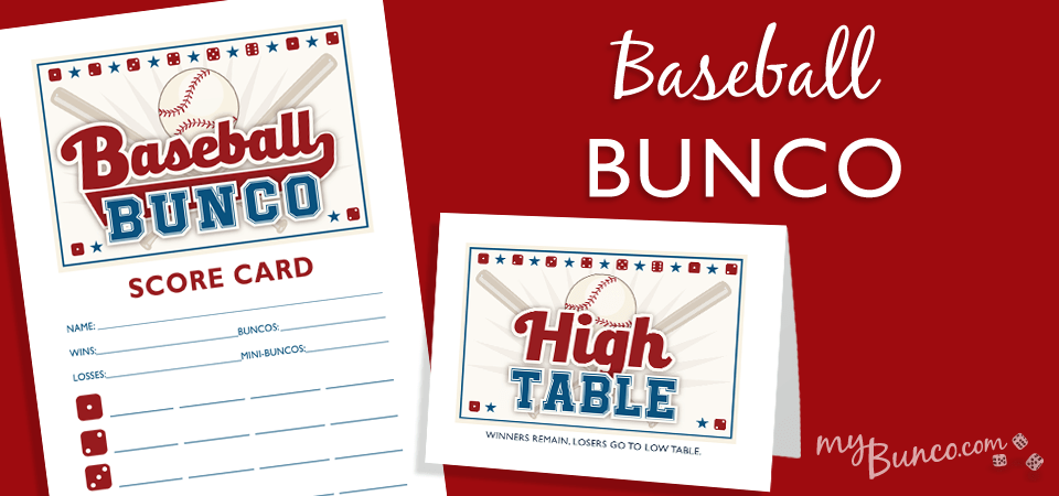 Baseball Bunco Party Set